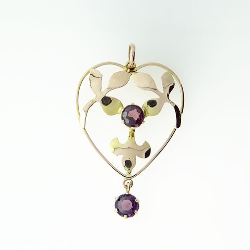 Antique 9ct Rose Gold Amethyst Pendant c1900