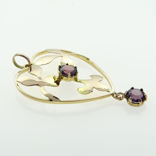 9ct Rose Gold Amethyst Pendant c1900