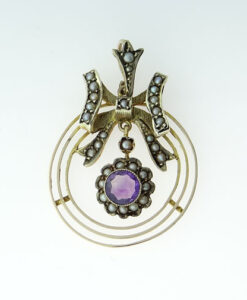 Antique 9ct Gold Amethyst and Pearl Bow Pendant c1900
