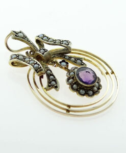 9ct Gold Amethyst and Pearl Bow Pendant c1900
