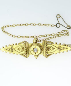 Antique 15ct Gold Diamond Set Brooch c1900
