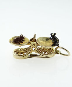 Vintage 9ct Gold Moving Mice on Scales Charm