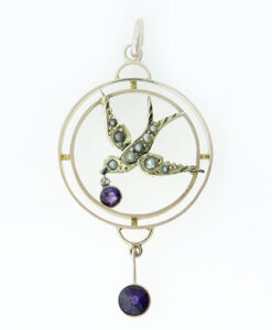 Antique 9ct Rose Gold Amethyst and Pearl Swallow Pendant c1900