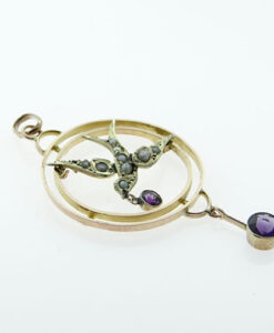 Antique Rose Gold Amethyst and Pearl Swallow Pendant