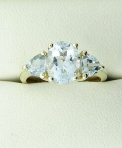 9ct Gold Aquamarine Three Stone Ring