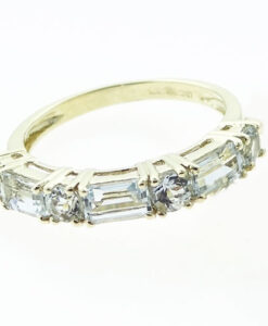 9ct Gold Aquamarine Band Ring