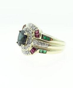 9ct Gold Diamond, Ruby, Emerald and Sapphire Cluster Ring
