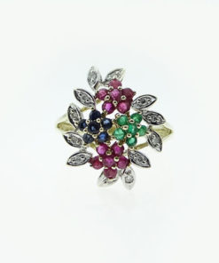 9ct Gold Diamond, Ruby, Emerald and Sapphire Flower Cluster Ring