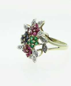 Diamond, Ruby, Emerald and Sapphire Flower Cluster Ring