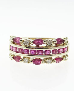 9ct Gold Diamond and Ruby Band Ring