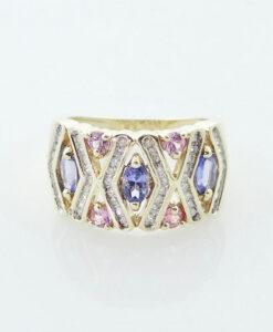 Gold Tanzanite, Pink Sapphire and Diamond Band Ring