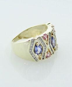 9ct Gold Tanzanite, Pink Sapphire and Diamond Band Ring