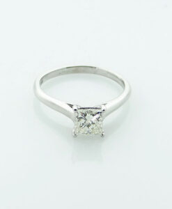 18ct White Gold Princess Cut Diamond Solitaire Ring 1.00ct