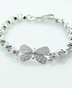 Ladies Sterling Silver CZ Butterfly Belcher Bracelet