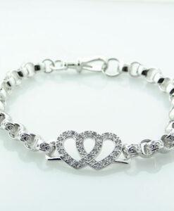 Silver Double Love Heart Belcher Bracelet
