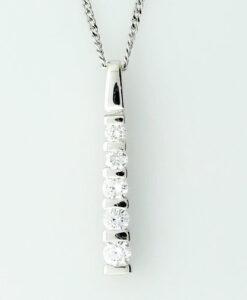 18ct White Gold Diamond Bar Pendant 0.33 carat
