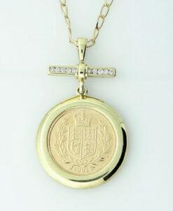 9ct Gold Diamond 2002 Half Sovereign Pendant