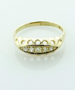 Antique 18ct Gold Five Stone Diamond Ring Hallmarked 1918