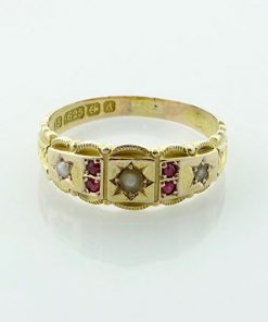 Edwardian 15ct Gold Ruby and Pearl Ring, 1903