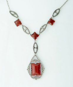 Vintage Sterling Silver Carnelian and Marcasite Necklace
