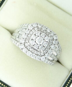 White Gold Diamond Cluster Statement Ring