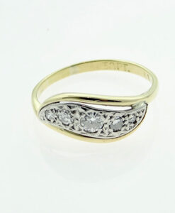Vintage Gold & Platinum Five Stone Diamond Swirl Ring