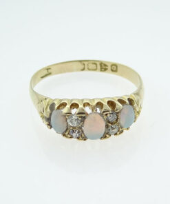 Antique 18ct Gold Diamond & Opal Ring Hallmarked Chester 1899