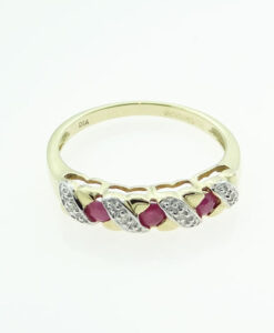 Gold Ruby and Diamond Band Ring