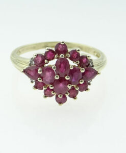 Gold Ruby and Diamond Cluster Ring