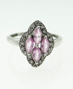 White Gold Pink Sapphire and Diamond Cluster Ring