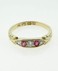 Victorian 18ct Gold Diamond and Ruby Ring
