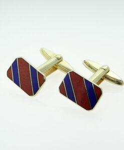 Vintage Sterling Silver Blue and Red School Tie Cufflinks