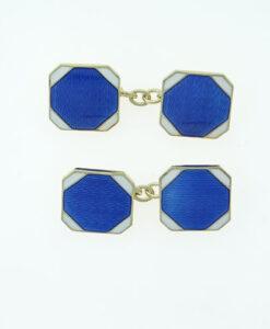 Vintage Sterling Silver Blue and White Enamel Cufflinks