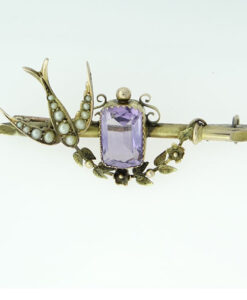 Victorian 9ct Gold Amethyst and Pearl Swallow Brooch