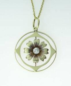 Antique 15ct Gold Diamond Flower Pendant