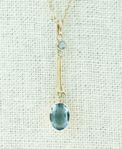 Antique 9ct Rose Gold Blue Topaz Pendant c1900