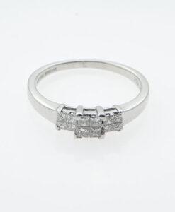 White Gold Princess Cut Diamond Cluster Ring