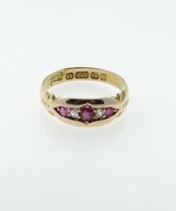 Victorian 15ct Gold Ruby and Diamond Ring, Birmingham 1891