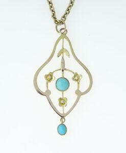 Antique 9ct Rose Gold Turquoise Pendant c1910