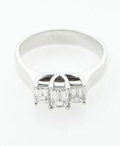 18ct White Gold Trilogy Diamond Ring 1.02ct