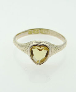 Antique 9ct Gold Citrine Heart Ring