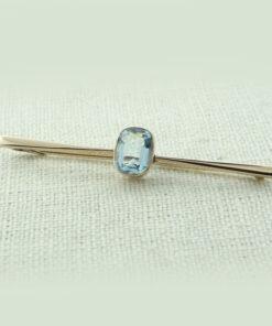 Antique 9ct Rose Gold Blue Topaz Bar Brooch c1915