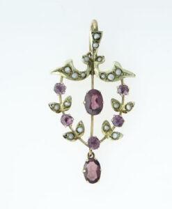 Antique 9ct Gold Almandene Garnet and Pearl Pendant
