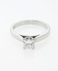 Platinum Diamond Princess Cut .52ct Solitaire Ring
