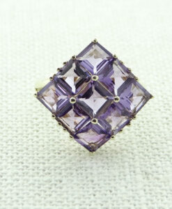 9ct Yellow Gold Amethyst Cluster Ring