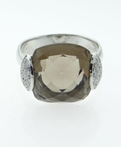18ct White Gold Diamond and Smokey Quartz Cocktail Ring
