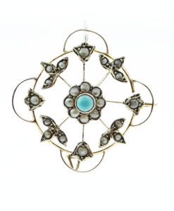 Antique 9ct Rose Gold Turquoise and Pearl Brooch or Pendant c1900