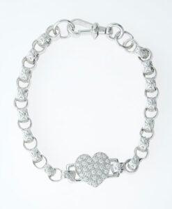 Sterling Silver Love Heart Belcher Bracelet