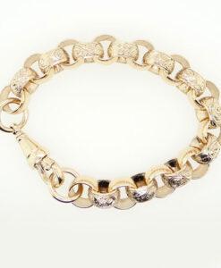 Men's 9ct Gold Solid Large Textured Belcher Bracelet