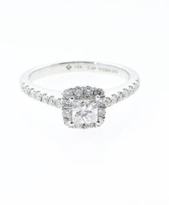 18ct White Gold Princess Cut Diamond Halo Ring
